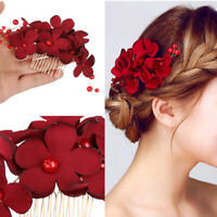Red Flower HairPin Hair Combs Bridal Clips Bridesmaid Tiara Hair Jewelry Crystal