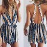 Womens Holiday Mini Playsuit Jumpsuit Summer Beach Backless Dress Shorts Hot