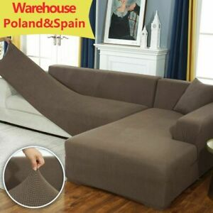 Plush L Shaped Sofa Cover Living Room Elastic Furniture Couch Slipcover Covers