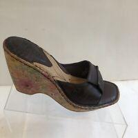 Born Brown Leather Floral Platform Wedge Sandals Womens Size US 7 M/W (EU 38)