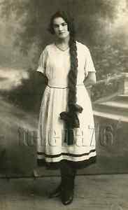 1910s Beautiful Young Woman Very Long Braid Fashion CZARIST Russian vtg Photo