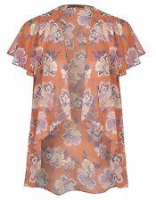 Barbara Hulanicki shrug cover up kimono peach coral orange floral UK 8 10