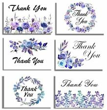 96 Thank You Cards & Envelopes 6 Purple Blue Floral, Blank Note 4x6 NEW