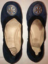 Tory Burch Caroline Ballet Flats 7M Navy Suede Slip On Shoes w/ Gold Medallion