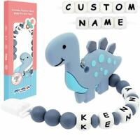 Dinosaur Baby Teether with Personalised Dummy Clip Customised Name Pacifier clip