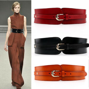 Fashion Genuine Leather Wide Waist Belt Pin Buckle Elastic Stretch Waistband