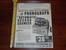 PHONOGRAPH MODEL 1100 GENERAL ELECTRONIC DISTRIBUTING CO ADVERTISMENT RARE OLD