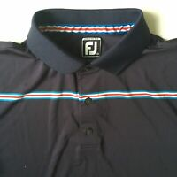 FootJoy Athletic Fit Men's Medium M Golf Polo Polyester Spandex Navy Blue Shirt