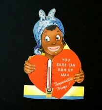 Vtg Valentine African American Googly Eyes You Sure Can Run Up Mah Temp Honey