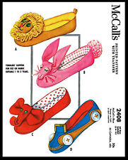 Fabric Sewing Pattern #2408 McCALL's Vintage Slippers Toddler Child Kids UNISEX