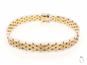 Men's 14K Gold Two Tone Jubilee Bracelet. 8.50 inches 10 mm wide. Made In Italy