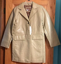 NWT A Collezioni Tan Soft Faux Leather Coat Size Small / 48