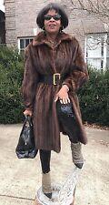 Designer Swing Full Length Sable color Female pelt Mink Fur Coat Jacket S-M 2-8