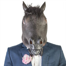 BLACK HORSE HEAD MASK - LATEX MASK - UNICORN HORSE - COSPLAY COSTUME RUBBER