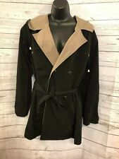 CS Signature Women's Trench Coat Double Breasted Belted Hooded Black Size M