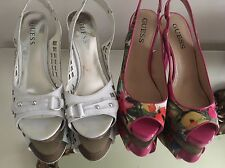 2 Pair Guess Heels Womans White / Floral slingback Stacked Heel EUC Open Toe 8