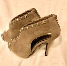 Size 6.5-Dollhouse-Peep-Hole Faux Suede Stiletto Heels Ankle Boots