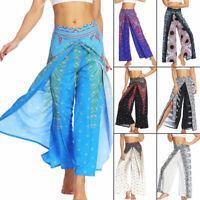 Womens Boho Floral Long Pants Palazzo Wide Leg Yoga Loose Baggy Harem Trousers