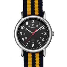 Orologio Uomo Donna TIMEX WEEKENDER T2N647BY Tessuto Nero Giallo Vintage