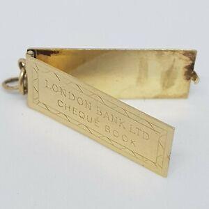 9ct Gold Vintage Charm Cheque Book London Bank Ltd Hallmarked