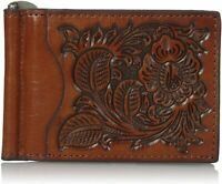 Nocona Mens Pro Series Floral Embossed Leather Money Clip Wallet (Tan)