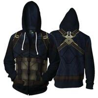 Avengers 4 Captain America Hoodie Sweatshirt Zipper Coat Jacket Cosplay Costume