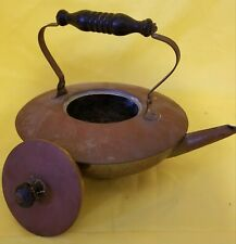 "Vintage Antique Wooden Handle Brass Teapot 8"" Diameter"