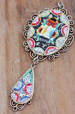 Vintage Pendant Micro Mosaic Filigree Italian Costume Jewellery Micromosaic Deco