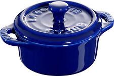 Staub ceramica 6 mini cocotte TONDO BLU SCURO 10 cm Piatto da forno soufleeform