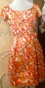 Fabulous True Vintage Orange Floral Cocktail or Day Dress, Small Size, Goodwood?