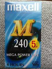 5 x Maxell M 240 Mega Power 4 Hours Blank VHS Video Cassette Tapes NEW SEALED