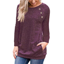 Womens Button Loose Tops Ladies Casual Autumn  T-Shirt Jumper Blouse Pullover
