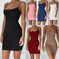 Fashion Sexy Women Solid Strap Sleeveless Stretchy Package Hip Bodycon Dress