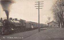 E23/ Earlville Iowa RPPC Postcard c1910 Steam Locomotive I.C. Railroad Depot