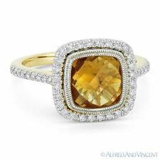2.61 ct Citrine Gem & Diamond Pave Halo 14k Yellow & White Gold Right-Hand Ring