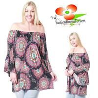 PLUS Size On Off Shoulder Bohemian Bell Sleeve Gypsy Peasant Tunic Top 1X 2X 3X