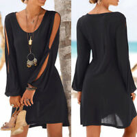 Fashion Women's Casual O-Neck Hollow Out Sleeve Solid Beach Style Mini Dress