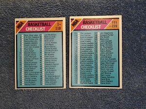 1975 Topps Basketball Checklist lot of 2 # 61 & # 181