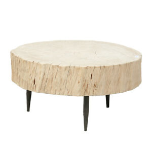 Contemporary Chinese Poplar Trunk Coffee Table