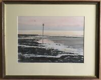 Watercolour Evening Calm At Low Water Margate 1988 Signed Alan W Shelley Paintin