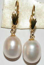 VINTAGE 12.5mm BAROQUE PEAR WHITE PEARL STERLING SILVER GOLD PL DANGLE EARRINGS