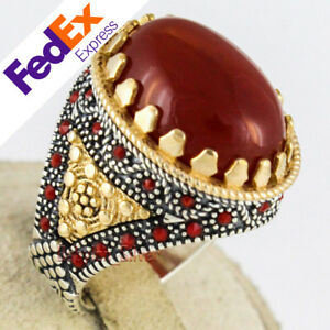 Natural Red Agate Stone 925 Sterling Silver Turkish Handmade Men's Ring All Size