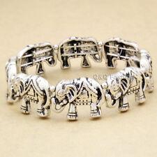Silver Lucky Elephant African Hindu Ganesha Stretch Animal Bracelet Bangle Cuff