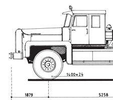 • Rotinoff Atlantic 6x4 1958, 1/87 scaledrawing by JF van der Touw