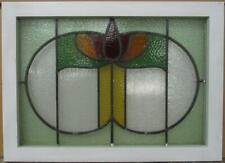 "MID SIZED OLD ENGLISH LEADED STAINED GLASS WINDOW Abstract Floral 26.75"" x 19.5"""