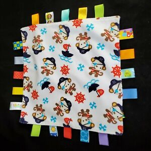 Taggies Pirate Monkey Fleece Baby Security Blanket Lovey Tags Blue White Ribbon