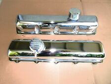 OLDSMOBILE TALL CHROME STAMP STEEL VALVE COVERS WITH BILLET BREATHERS 350 , 455