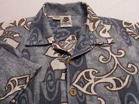 Kennington Mens Large Short Sleeve Button-Front Blue Floral Hawaiian Shirt