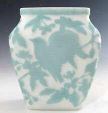 Consolidated Glass Chickadee Vase Blue on White Satin Martele Line