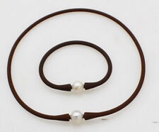 one set white freshwater pearl round 10-11mm brown silicone necklace bracelet